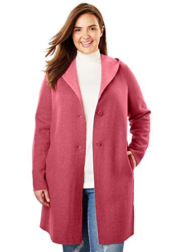 Woman Within Women's Plus Size Double-Faced Wool-Blend Coat - Rose Bloom Desert Rose, 26/28 Double Faced Wool Fabric