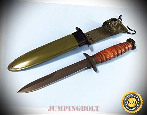 WWII M3 Trench Knife 211133 Stacked Leather fixed blade 11 5/8'' overall CHINA - Knife for Bushcraft EMT EDC Camping Hunting ()