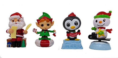 (Christmas Solar Dancing Santa Claus, Elf, Penguin and Snowman (set of 4) )