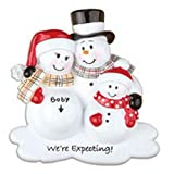 Pregnant Were Expecting Snowmen Family of 3 Christmas Ornament by Polar X