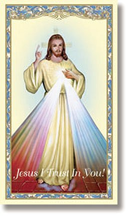 Divine Mercy Holy Card with divine mercy chaplet on the back (10 pack)