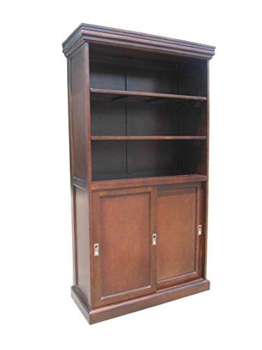 D-ART Prime Sliding 2 Door Bookcase Cabinet - in Mahogany Wood ()