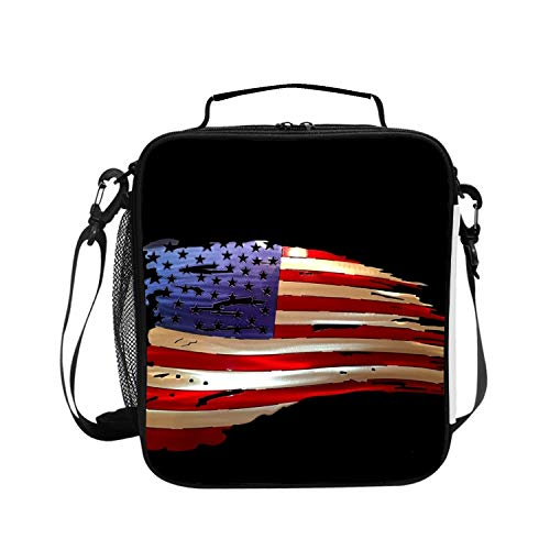 Flag Battle Square (Levendem Square Insulated Lunch Tote Battle Worn American Flag Bag Picnic Cooler Bag with Shoulder Strap Unisex Lunch Bag for All)