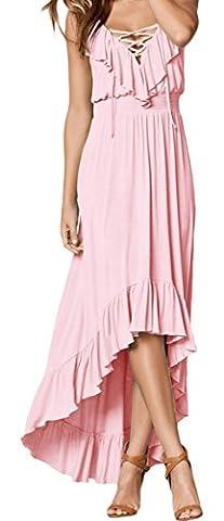 YeeATZ Women Light Pink Lace Up V Neck Ruffle Trim Hi-low Maxi Dress - Harry London Truffles