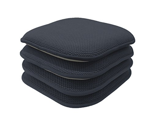 4 Pack: GoodGram Non Slip Honeycomb Premium Comfort Memory Foam Chair Pads/Cushions - Assorted Colors (Charcoal) (Chair Navy Cushions Dining)