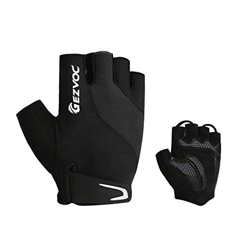 GEZVOC Bike Gloves Biking Gloves Men&Women Cycling Gloves Bicycle Gloves Half Finger Breathable Non-slip Shock-absorbing Mountain Bike Gloves For Outdoors Workout Exercise (Black, X-Large) -