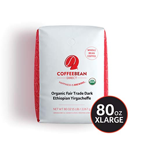 Coffee Bean Direct Dark Ethiopian Yirgacheffe, Organic Fair Trade Whole Bean Coffee, 5-Pound Bag