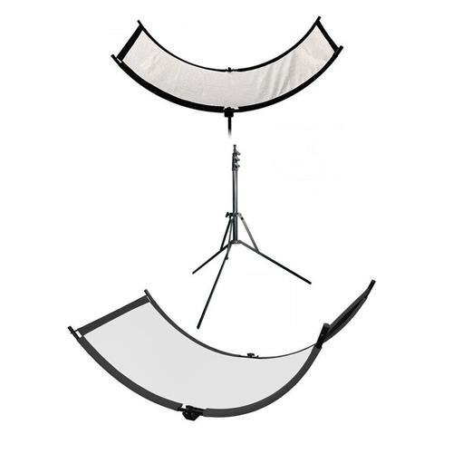 Westcott The Eyelighter, Collapsible Reflector for Eye Catchlights - Bundle With Matthews 7' Reverse Stand, White Eyelighter Fabric by Westcott