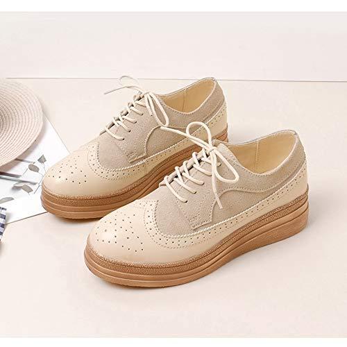 Beige Hwf Cuir Femmes Bas Chaussures Pour Loisirs Épais En couleur 40 Simples Brown Femme Plates Britannique Style Taille Automne w5887Upq