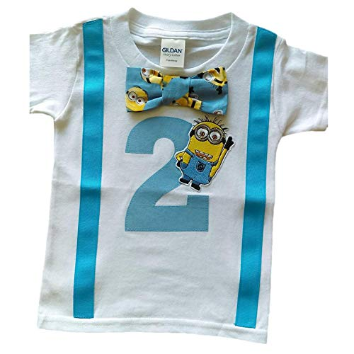 2nd Birthday Shirt Boys Minions Tee, White-aqua-yellow, 3T]()