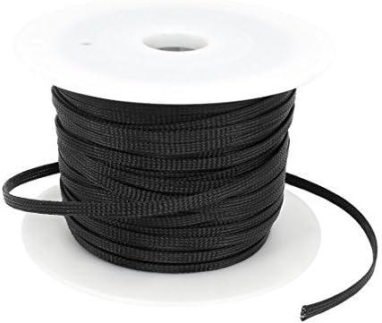 DealMux Car Audio Trenzado de poli/éster Fundas Cubierta del Cable de la Bobina Negro 100M x 6mm