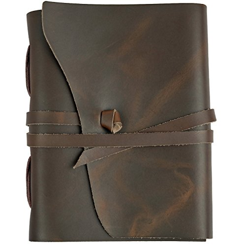 RICCO BELLO Artista Handmade Genuine Leather Journal, 280 Pages - 5.5 x 7 inches (Brown)