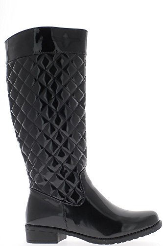 Stiefel-große schwarze weibliche Taille-Ferse 3,5 cm lackiert
