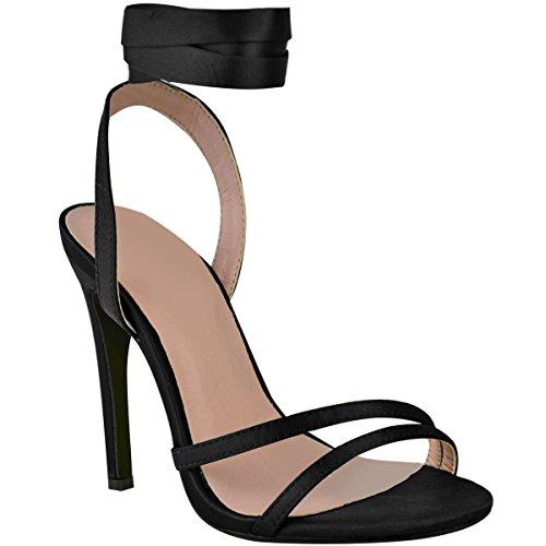 Fashion Womens alto de Con Satinado Negro Blanco Ladies Satinado Tobillo Sandalias Banquete Amarre boda Heelberry® cordones Thirsty Tacón HXrqnHBp
