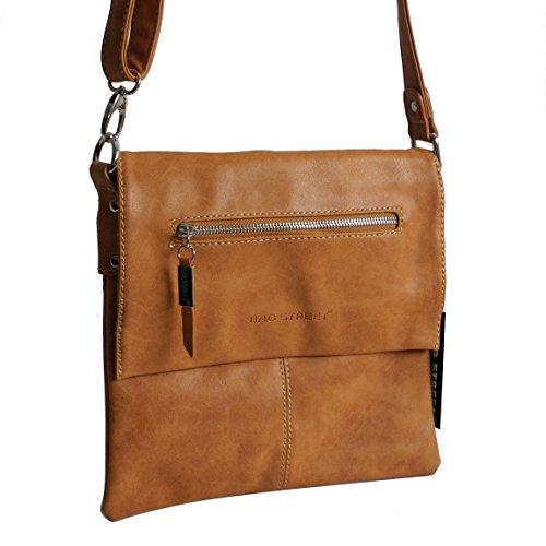 Bag Street legere, modische Umhängetasche City-Shoppertasche Rustikal Style - präsentiert von ZMOKA® in versch. Farben (Braun) Cognac