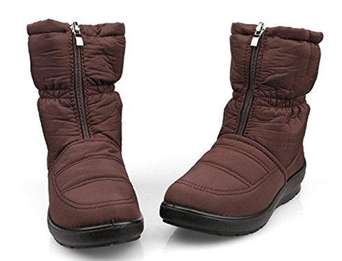 SFNLD Women's Warm Fully Fleece Lining Winter Shoes Snow Ankle Boots Brown 8 B(M) US