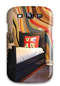 Hot 1268842K30992960 Tpu Case Skin Protector For Galaxy S3 Wave Of Colors On Kid Bedroom Wall For Playful Touch With Nice Appearance