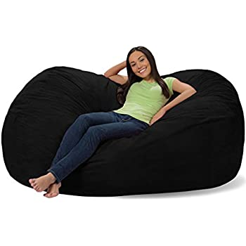 Comfy Sacks 6 Ft Lounger Memory Foam Bean Bag Chair, Jet Black Cords