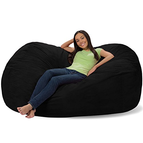 Comfy Sacks 6 ft Lounger Memory Foam Bean Bag Chair, Jet Black Cords
