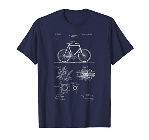 Mens Vintage Patent Print 1900 Bicycle Cycling T-Shirt Medium Navy -