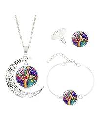 YaptheS Women Europe Moon Life Tree Jewelry Set of Earrings + Necklace + Bracelet Jewelry