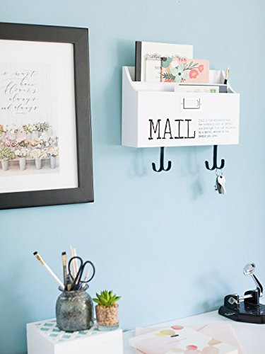 Blu Monaco Mail Organizer Wall Mount with Key Rack Hooks - Wood - Two Tier with Mail Print – for Office, Kitchen, Entryway by Blu Monaco (Image #1)