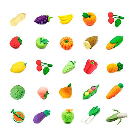 (24 PCs Joanna Reid Collectible Set of Adorable Japanese Puzzle Vegetable and Fruit Erasers for Kids Value Pack - No Duplicates - Puzzle Toys Best for Party Favors-Treasure Box Items for Classroom)