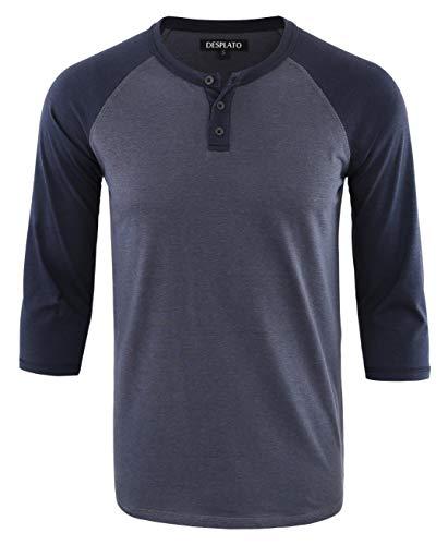 DESPLATO Men's Casual Vintage 3/4 Sleeve Henley Baseball Jersey Knit T Shirts Cadet Blue/Navy XL