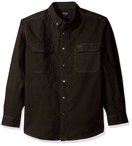 Smith's Workwear Men's Flannel Lined Canvas Work Shirt, Charcoal, X-Large