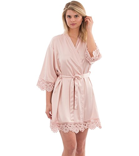 VEAMI Annabelle Lace Satin Robe, Short Robe for Women- Pale Blush- Large