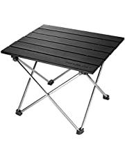 Trekology Portable Camping Side Tables Aluminum Table Top: Hard-Topped Folding Table in a Bag Picnic, Camp, Beach, Boat, Useful Dining & Cooking Burner, Easy to Clean