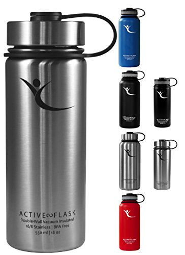 Trinkflasche ACTIVE FLASK von BeMaxx Fitness + 3 Trinkverschlüsse - Doppelwandig vakuum-isolierte Edelstahl Thermosflasche für Büro, Sport, Outdoor - Ideal für Kaffee, Tee, Kaltgetränke