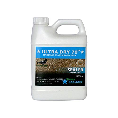 Ultra Dry 70 - Natural Stone Marble Sealer - Grout Sealer - Countertop Sealer - Bathroom Tile Sealer (Quart)