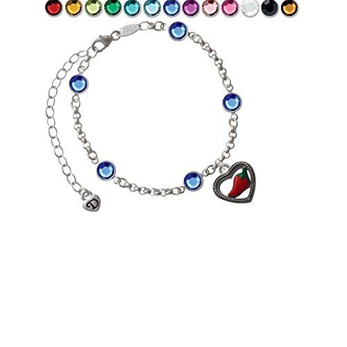 - Jalapeno in Rope Heart Custom Crystal Color Fiona Charm Bracelet