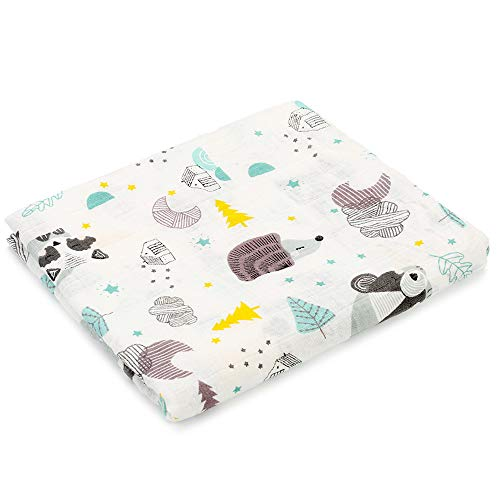 Muslin Swaddle Blankets Silky Soft 100% Cotton Absorbent 1 Pack 47×40 inch Large Muslin Swaddle Baby Shower Gift for Girl and Boy (Color NO16)