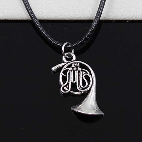 Choker Necklaces - New Fashion Tibetan Silver Pendant French Horn Necklace Choker Charm Black Leather Cord Factory Price Handmade Jewelry - by ptk12-1 PCs