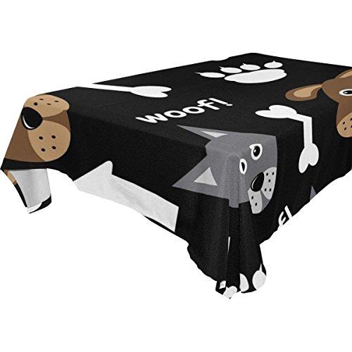 (Rectangular Cartoon Puppy Pug Dog Bone Tablecloth Table Cloth Cover for Home Decor Dinner Kitchen Party Picnic Wedding Halloween Christmas 60 x 108)
