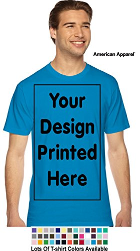 (Custom T-Shirt. Personalized Tee. Add Your Design Logo Image Picture (XL, Teal - American Apparel))