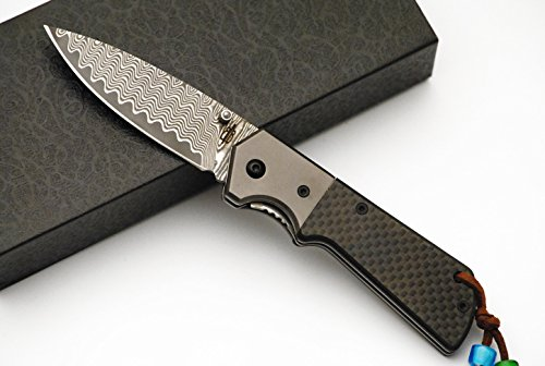 BucknBear Custom Handmade Damascus Carbon Fiber Folding Knife (Carbon Fiber