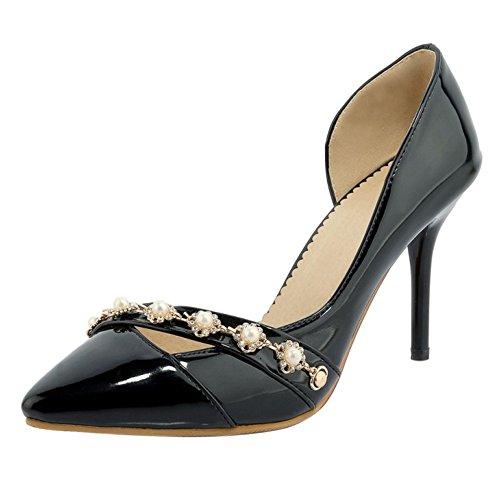 TAOFFEN Women Fashion D'Orsay Court Shoes Black-16