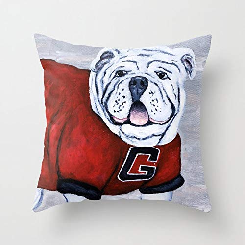 (Decorative Throw Pillow Cover Square Pillow Case Cover Cotton Cushion Cover for Sofa, Couch, Bed and Car 18x18 inch - Georgia Bulldog UGA X College Mascot )