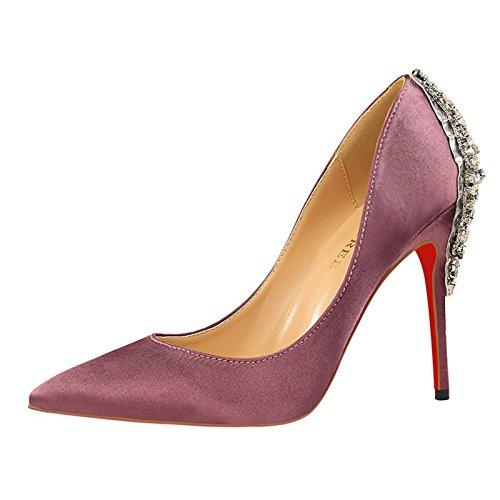 YMFIE Estilo europeo elegante satén zapatos de tacón de diamante señoras sexy zapatos de fino y puntiagudo,35 UE,violeta 35 EU