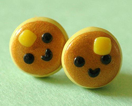 Kawaii Smiley Pancake Earring Studs Polymer Clay Miniature Food (Boutique Polymer Clay)