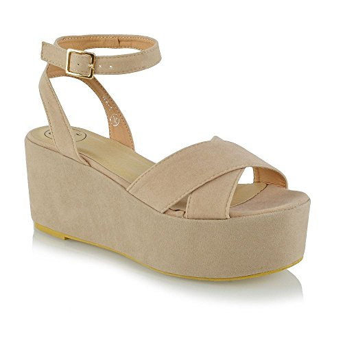 ESSEX GLAM Womens Ankle Strap Wedge Heels Ladies Platforms Strappy Sandals Party Shoes Nude Faux Suede
