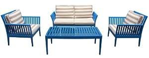 Pangea Home 1+1+2 Malibu 1+1+2+CT Set Blue.Stripes 4 Piece 4 Sofa Cushions, Blue Frame/Taupe Stripes