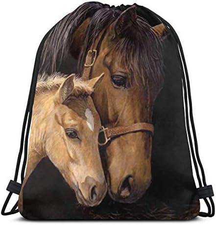 女性のための馬黒巾着バックパックジムサックキャンバス巾着バッグスポーツ旅行用軽量36 x 43cm
