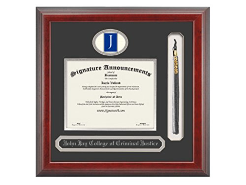 Signature Announcements John-Jay-College-of-Criminal-Justice Graduate Or Doctorate Sculpted Foil Seal, Name & Tassel Diploma Frame, 20'' x 20'', Cherry by Signature Announcements