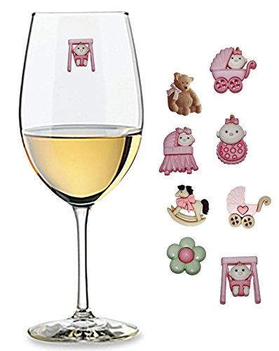 Baby Girl Shower Wine Glass Charms - Set of 8 - Magnetic Drink Markers for Stemless Glasses Champagne Flutes and More by Charm Your Drink, LLC