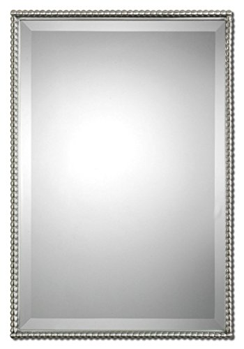 Beaded Rectangle Silver Vanity Wall Mirror | Thin Nickel Metal Frame