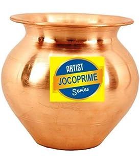 JOCOPRIME Copper Lota Kalash Pot Used as Poojan Worship Home Temple Garden Storage Water